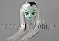 Голова бирюзовой куклы Монстер Хай с бело-черными волосами 15,0 см