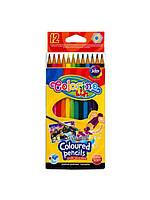 Карандаши акварельные шестигранные цветные + кисточка 12 цветов