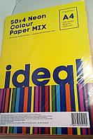 "Бумага ""IDEA!"" А4 80г/м 50х4/200арк. Neon Colour MIX"
