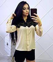 Женская шифоновая блузка с мягким кружевом