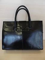 Красивая  деловая сумка женская  кожаная Италия Черный