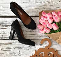 Классические туфли из натуральной замши на высоком наборном каблуке  SH1707