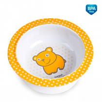 Глубокая тарелка из меламина на присоске с оранжевым медвежонком Canpol babies (4/519-3)