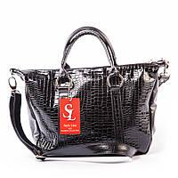 Черная крокодиловая сумочка в лаке 1358damla