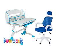 Детская парта-трансформер для школьника FunDesk Volare II Blue + Детское кресло LST5 Blue
