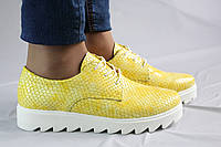 Яркие желтые криперсы. Натуральная кожа. Туфли женские 0991