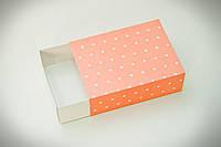 Коробка Макаронс на 12 шт  115*155*50 РОЗОВА горошок (печиво зефір цукерки)
