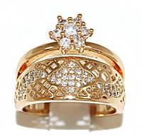 Кольцо фирмы Xuping. Цвет: позолота. Камни: белый циркон. Ширина кольца: 1,2 см. Есть 16 р. 17 р. 18 р.