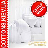 Комплект двуспального евро белого постельного белья 3310