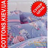 Двуспальное евро постельное белье с органического хлопка Голубая роза ТМ Kunmeng