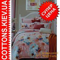Двуспальное евро постельное белье с зимнего бамбукового волокна Персик ТМ Kunmeng