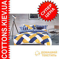 Комплект двуспального евро сатинового постельного белья Желто-голубая абстракция ТМ UG