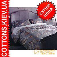 Двуспальное евро постельное белье с египетского хлопка Бургуд  ТМ Kesar Polo