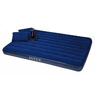Матрас надувной велюровый Intex с насосом и подушками