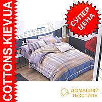 Комплект двуспального евро сатинового постельного белья Шотландка нежно кофейная ТМ UG
