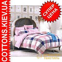 Комплект двуспального евро сатинового постельного белья Шотландка нежно розовая ТМ UG