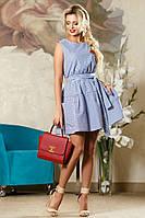 Красивое Летнее Хлопковое Платье Бело-Синяя Полоска р. 42-48