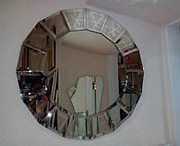 Зеркало КРУГ диаметром 600 мм с фацетными накладками