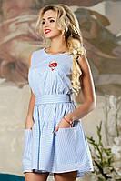 Красивое Летнее Хлопковое Платье Бело-Голубая Полоска р. 42-48