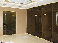 Стеклянная перегородка смаятниковой дверью и фрамугой из бронзового закаленного стекла