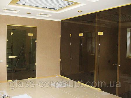 Стеклянная перегородка с маятниковой дверью и фрамугой из бронзового закаленного стекла