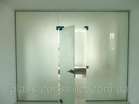 Стеклянная перегородка с маятниковой дверью и фрамугой из матового закаленного стекла