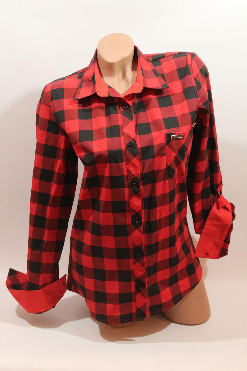 Женские рубашки в клетку 1 кармашек оптом VSA красный-черный