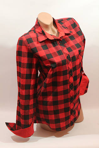 Женские рубашки в клетку 1 кармашек оптом VSA красный-черный, фото 2