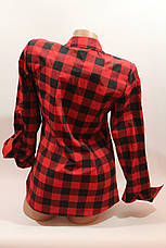 Женские рубашки в клетку 1 кармашек оптом VSA красный-черный, фото 3