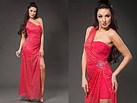 Элегантное женское платье-комплект: нижнее платье микромасло, верхняя гипюровая накидка съемная. Цвет розовый