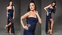 Элегантное женское платье-комплект: мини платье микромасло верхняя гипюровая накидка съемная. Цвет темно синий