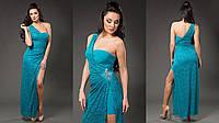 Женское платье-комплект: нижнее платье микромасло, верхняя гипюровая накидка съемная. Цвет бирюзовый