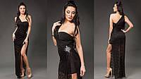 Женское платье-комплект: нижнее платье микромасло, верхняя гипюровая накидка съемная. Цвет черный