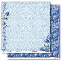 Бумага для скрапбукинга двустор Орнамент Сапфировые мечты  Scrapberry's, 1 шт