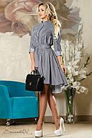 Стильное платье из коттона, в полоску, с асимметричной длиной, размер 44-50
