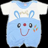 Песочник-футболка, короткий рукав, двухцветный, трикотаж, Турция, р. 62, 68, 74