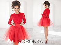 Эффектное короткое женское платье с пышной фатиновой юбкой, цвет красный размер 42-46