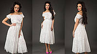 Элегантное женское платье открытые плечи юбка плиссе, материал шифон-жаккард. Цвет белый