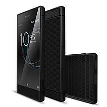Чехол накладка TPU Fiber Hexagon для Sony Xperia XA1 черный, фото 2