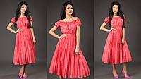 Элегантное женское платье открытые плечи юбка плиссе, материал шифон-жаккард. Цвет коралловый