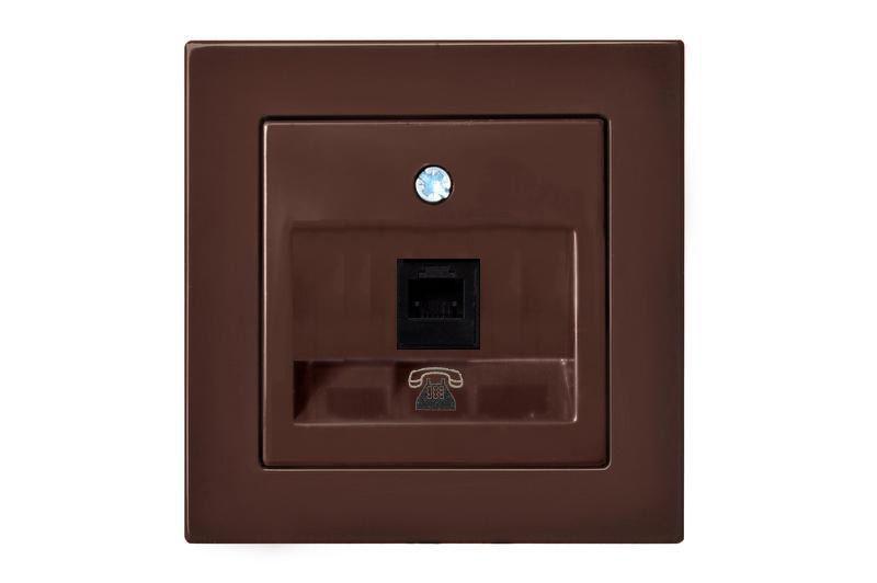 Розетка телефонная одинарная, коричневый, Epsilon