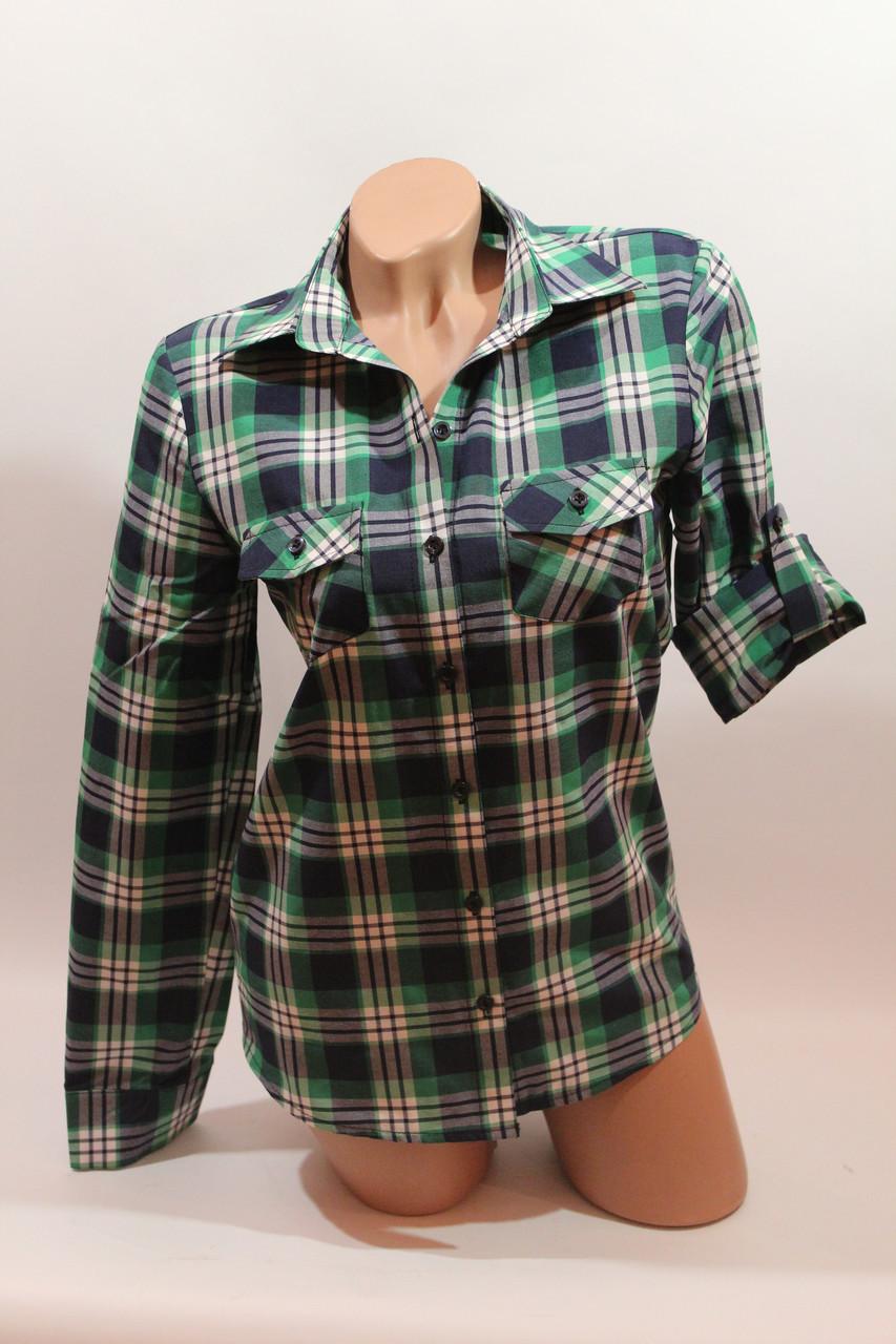 Женские рубашки в клетку оптом VSA белый-зеленый-полоска