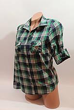 Женские рубашки в клетку оптом VSA белый-зеленый-полоска, фото 2