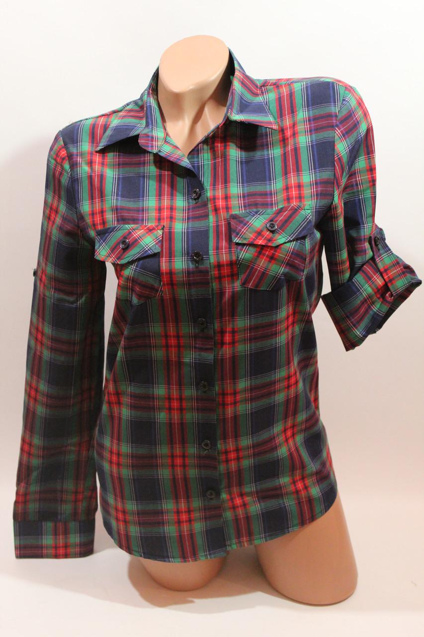 Женские рубашки в клетку оптом VSA красный-зеленый-т.синий-полоска