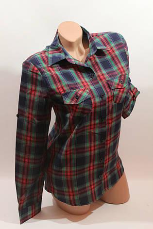 Женские рубашки в клетку оптом VSA красный-зеленый-т.синий-полоска, фото 2