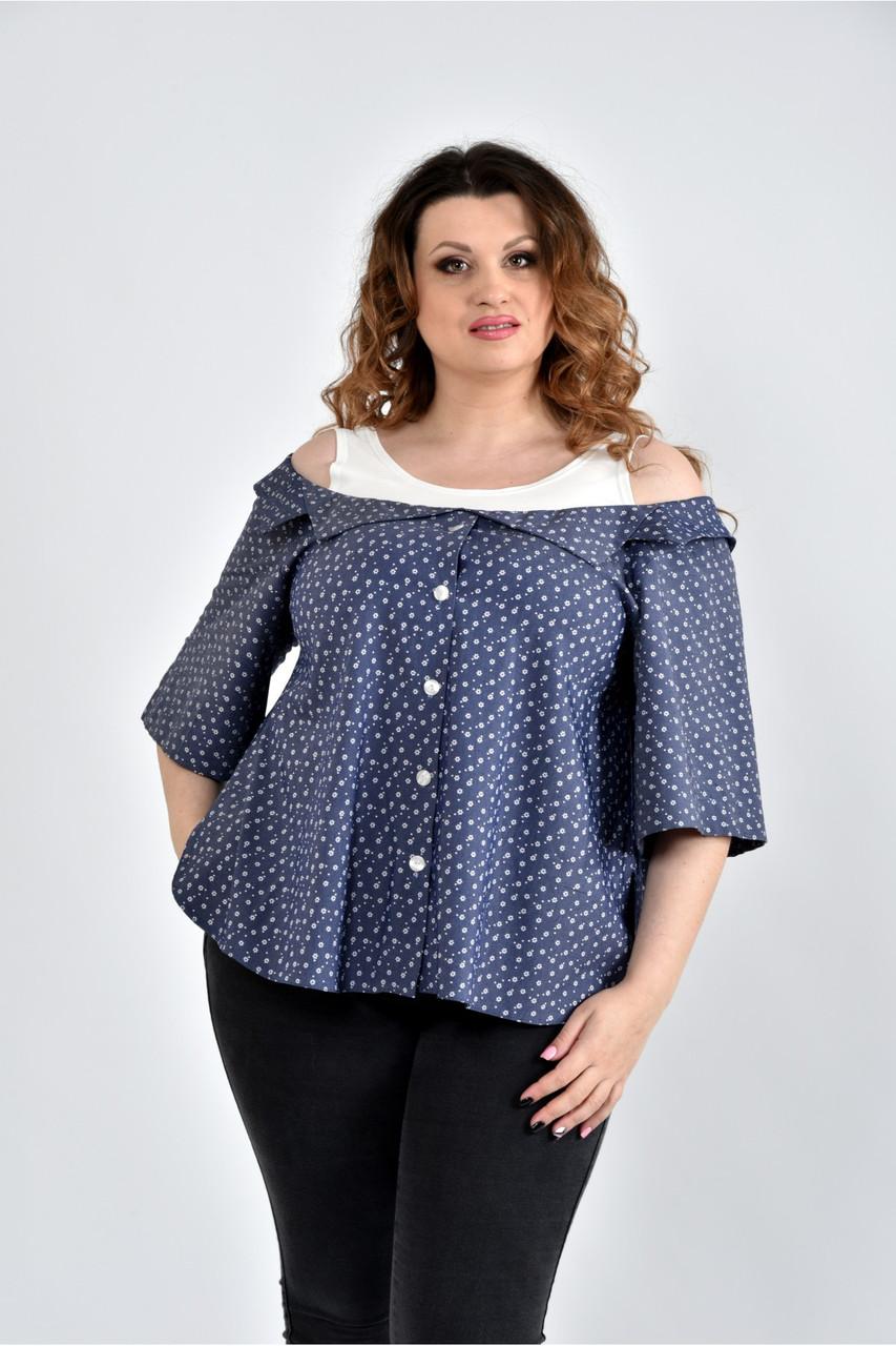 Женская блуза больших размеров 0505 цвет синий ромашки размер 42-74