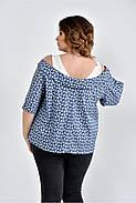Женская блуза больших размеров 0505 цвет голубой розы размер 42-74, фото 2