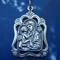 Серебряная подвеска-ладанка с камнями Пресвятая Богородица