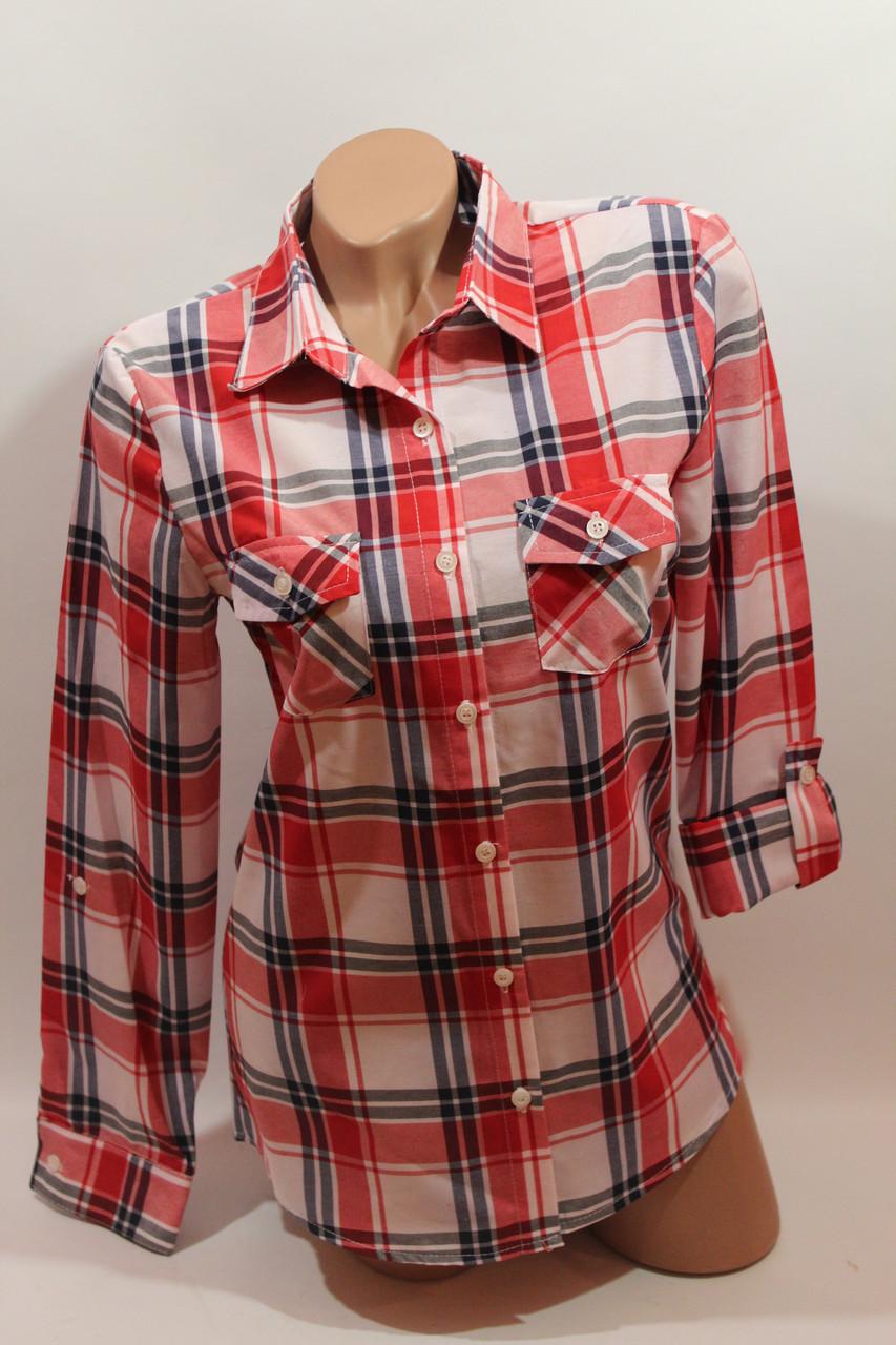 Женские рубашки в клетку оптом VSA белый-красный-полоска