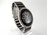 Женские часы R браслет керамика, черные с серебром, фото 1
